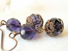 Vintage royal purple beaded earrings by BloomsburyRoad on Etsy, $18.00