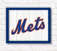 "New York Mets - rustic home decor - 16""x20"" handmade sign - Bruins wall hanging - Boys room or man cave decor on Etsy, $55.00"