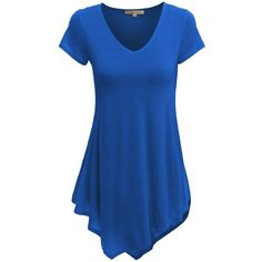 Doublju Women Day-to-Night Handkerchief Hemline Short Sleeve Plus Size... (28 AUD) ❤ liked on Polyvore featuring tops, t-shirts, women plus size tops, plus size t shirts, blue top, handkerchief hem top and plus size tops