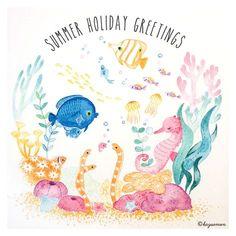SUMMER HOLIDAY GREETINGS 水彩バージョン