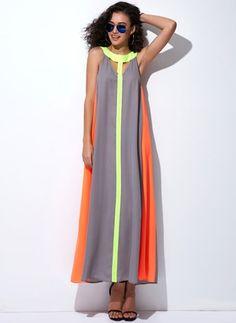 Chiffon Cotton Sleeveless Maxi Casual Hollow Out Dresses (1039531) @ floryday.com