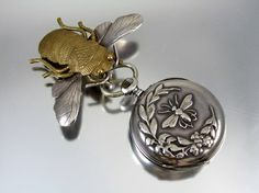 Antique Art Nouveau sterling silver pocket watch and pin