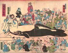 "Tipsiness following the great namazu    In this print, the god Kashima stabs his sword into the throat of the namazu, which is laid out on a giant table. The crowd of onlookers is divided into two groups. The people in the top half of the picture are labeled as ""smiling"" (those who benefit from the earthquake) and the people at the bottom are labeled as ""weeping"" (those who are harmed by the earthquake)"