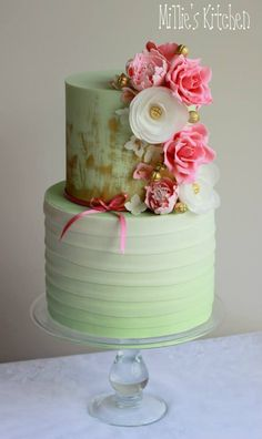 Mint, Pink and Gold Cake