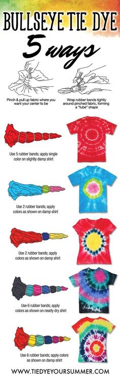 It's so easy to get the bullseye tie dye design. Create your very own custom shi… It's so easy to get the bullseye tie dye design. Create your very own custom shirt using Tulip One-Step tie dye and make this awesome pattern technique on a basic tee! Tye Dye, Fête Tie Dye, Tie Dye Party, How To Tie Dye, Diy Tie Dye Shirts, Diy Shirt, Tee Shirts, Tie Dye Crafts, Tie Dye Techniques
