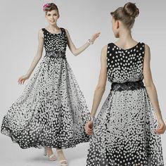 65293b2382d Black White Polk Dot Print Chiffon Dresses Maxi Long Big Hem Women Dress  for Summer Wear Girls Beach Wear Summer 2014 New