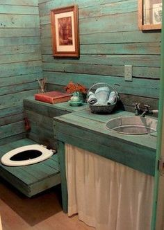 Outhouse Bathroom Design Ideas, Pictures, Remodel and Decor Cabin Bathrooms, Cozy Bathroom, Outdoor Bathrooms, Rustic Bathrooms, Small Bathrooms, Bathroom Storage, Bathroom Green, Outdoor Showers, Attic Bathroom
