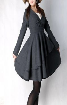 I really appreciate a well tailored coat dress, and the layers in this one add a little sass    by xiaolizi