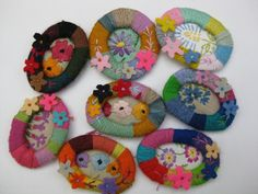 want to make these.. the wrapped  frames are so cool, Brooches by Mandy Pattullo