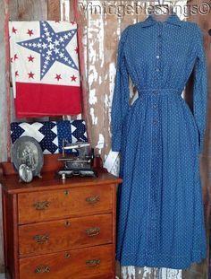 www.Vintageblessi... Antique c1880 Indigo Blue Calico Prairie Dress A RARE FIND #Handmade #prairiedaydress #Casual