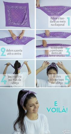 5 Formas de usar bandanas e lenços - - Scarf &bandana hairstyles - Hair Scarf Styles, Curly Hair Styles, Scarf Hairstyles, Cute Hairstyles, Bandana Hairstyles For Long Hair, Ways To Wear Bandanas, Hair Styles With Bandanas, Bandana Styles, How To Wear Bandana