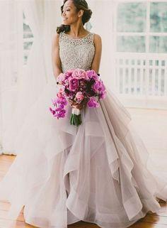 Fashion Sexy Open Back Colorful Wedding Dress