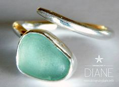 tapered sea foam sea glass ring | por Designs_By_Diane