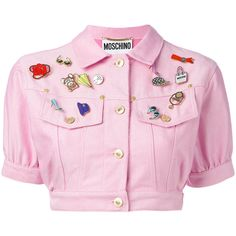 Moschino Vintage cropped denim badge jacket (€335) ❤ liked on Polyvore featuring outerwear, jackets, tops, light pink jacket, light pink denim jacket, denim jackets, cropped denim jackets and moschino jacket