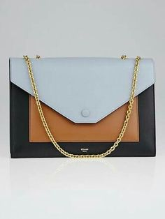 35f3bc8a2a Authentic Celine Seashell Tri-Color Smooth Calfskin Leather Pocket Chain Medium  Clutch Bag at Yoogi s Closet.