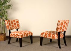 Modern Orange Floral Chair
