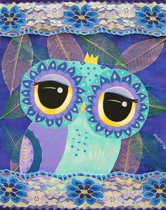 owl with crown by Udonchow Owl Art, Bird Art, Owl Illustration, Illustrations, Owl Wings, Beautiful Owl, Collage Artwork, Canvas Paper, Twilight