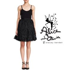 Alice + Olivia Cocktail / Prom Dress This beautiful ballerina-inspired LBD is a show stopper. The skirt part is comprised of tiered soft lace.  ** PLEASE READ COMMENT ABOUT TAKING 10%  OFF ** o Silk/spandex; combo: polyester; lining: silk o Round neck, adjustable grosgrain straps, tiered lace skirt o Exposed back zip closure, silk lining Alice + Olivia Dresses