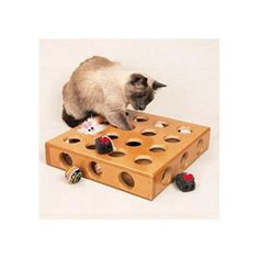 Keeps cats entertained for hours while they try to get toys and treats out of the box. Includes two fun toys for added cat attraction.