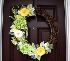 "Reserved listing for A. Bosworth, 24"" grapevine wreath...Yellow, Grey & White Full Coverage"