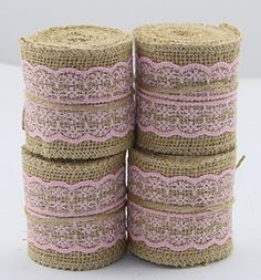 """Set of 4 Natural Jute Burlap Rolls Ribbon with Lace 2.3"""" Wide 2 Yards Long per Roll Wedding Decoration Multiple Colors : White, Blue, Green, Pink (Pink) - http://www.partythings.com/set-of-4-natural-jute-burlap-rolls-ribbon-with-lace-2-3-wide-2-yards-long-per-roll-wedding-decoration-multiple-colors-white-blue-green-pink-pink.html"""