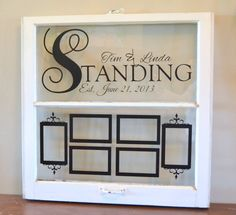 Items similar to Personalized antique window for wedding gift, anniversary-with 6 photo frames on Etsy Old Window Crafts, Old Window Decor, Old Window Projects, Barn Wood Projects, Window Art, Window Frames, Window Ideas, Vinyl Projects, Window Screens