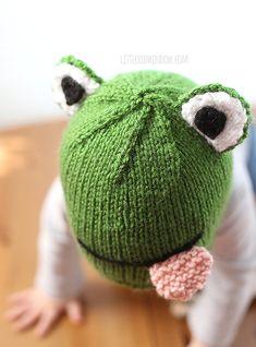 Divertida rana PATRÓN del sombrero de bebé que hace PUNTO