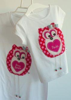 camiseta búho... camiseta búho... camiseta algodón,tela algodón estampada,metal  botones y abalorio costura a mano 100%