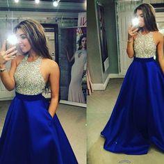 Vestidos De Baile más el tamaño De dos piezas Vestidos Baile 2016 brillante De plata con cuentas corsé Prom Vestidos Royal Blue Satin fiesta De antiguos alumnos