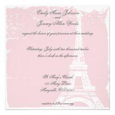 Pink Eiffel Tower Wedding Invitations