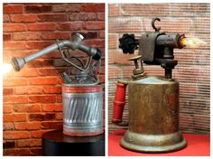 Vintage Upcycled Gas Can & Blowtorch #DeskLamps #LampRecycling #steampunk @idlights