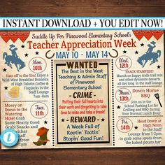 Wild West Western Theme Teacher Appreciation Staff Appreciation Week Inviation Itinerary of Events Schedule Template Etsy :: Your place to buy and sell all things handmade Employee Appreciation, Teacher Appreciation Gifts, Teacher Gifts, Teacher Stuff, Teacher Party, Wild West Theme, Invitation Text, School Teacher, School Days