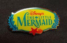 Disneys Trading Pin The Little Mermaid Logo Title Disneyland Yellow Ariel shell