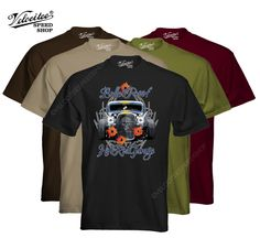 Velocitee Mens Premium T-Shirt Bullet Proof Hot Rat Rod Ford 3 Window W17052 #VelociteeSpeedShop