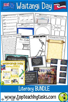 Waitangi Day Literacy Bundle. This bundle has everything a teacher needs for a focus on Waitangi Day and The Treaty of Waitangi, New Zealand's founding document. Easy to use and features flexible activity options. Differentiated Reading Passages about Waitangi Day, The Treaty of Waitangi, and more, along with Close Reading activities make this unit of study interesting and engaging for students. Writing Prompts and Print and Go activities also included. #Reading #WaitangiDay...