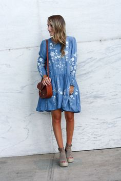 Embroidered Dress - Twenties Girl Style  Chambray Dress // Denim Dress // Cognac Laser Cut Bag // Marc Fisher Espadrilles