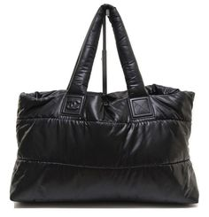 0917c1edf6894 Chanel 15B Black Cocoon Quilted Nylon Shopper Bag Tote Silver Leather  DoPEEK!  CHANEL  TotesShoppers