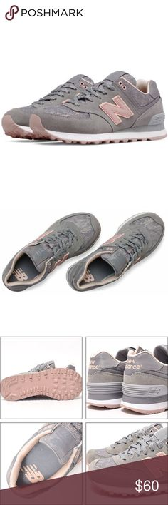 Women's New Balance 574 Grey Pink NEW SHOES but the shoe box is missing the lid.  Women's sizes. Retails for $80 style # WL574NLD Grey with pink. New Balance Shoes Sneakers