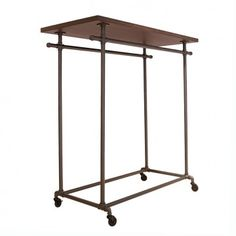 Double Bar Pipeline Clothing Rack with Top Shelf - PL2WS