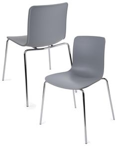 Standard Height Chair w/ Molded Plastic Seat & Metal Legs, Set of 2 - Gray Business Furniture, Plastic Molds, Contemporary Design, Dining Chairs, Relax, Legs, Gray, Modern, Room