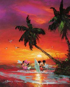"""Sunset Surf"" by James Coleman - Original Oil on Canvas, 24x18.  #Disney #MickeyMouse #MinnieMouse #DisneyFineArt #JamesColeman"