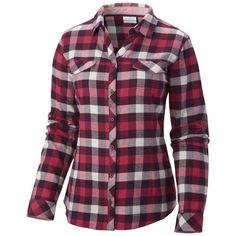 Columbia Women's Plus-Size Simply Put II Flannel Shirt ($50) ❤ liked on Polyvore featuring tops, women plus size tops, columbia, plus size flannel shirt, plus size womens flannel shirts and purple top