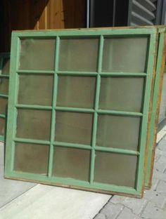 Oude Brocante Staphorster Raam Turkoois Groen 102x112