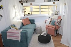 Vintage Trailer turned jewel box dream home! - Tiny House Trailer for Sale in Los Angeles, California - Tiny House Listings Camper Trailer For Sale, Vintage Campers Trailers, Camper Trailers, Box Trailer, Trailer Decor, Retro Campers, Birch Floors, Modern Interior, Interior Design