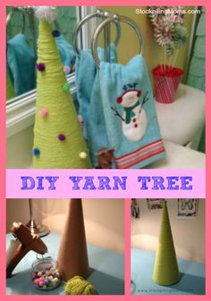 """LOVE this easy Christmas decoration! You could use any colors.. I think a twine wrapped """"tree"""" would be pretty."""