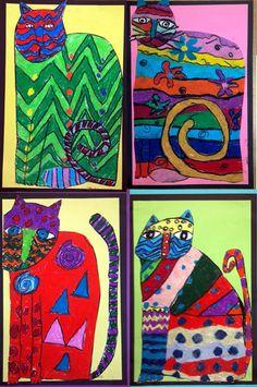 Laurel Burch inspired Cats- Oil Pastel- Grades 1/2