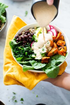 Alejandra from this Mexican Buddha Bowl using Cascadian Farm Fire more… Source by Healthy Salad Recipes, Vegetarian Recipes, Buddha Bowl Vegetarian, Chipotle Dressing, Steamed Spinach, Great Dinner Recipes, Mexican Salads, Clean Eating, Healthy Eating
