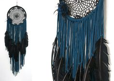 """Black and Dark Teal Hoop Art Doily Dreamcatcher with Black Large Feathers and Flower  10"""" Hoop with Black Doily Center wrapped with black wool Dark Teal fabric stripped with large black feathers hung from ends. Matching floral and feather brooch attached to left of hoop.   Hangs all together about 3 feet    _______________________  Please check my policies and look at my about me page.   You can also view more of my work on   facebook.com/madebybettyb instagram: @madebybettyb"""