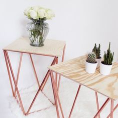 DIY tutorial on how to make copper side tables in less than one hour.