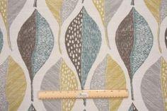 Fabric by the Yard :: Robert Allen Woodblock Leaf Printed Cotton Drapery Fabric in Rain $14.95 per yard - Fabric Guru.com: Fabric, Discount ...